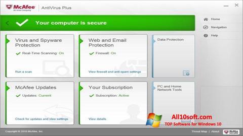 لقطة شاشة McAfee AntiVirus Plus لنظام التشغيل Windows 10